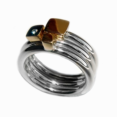 Silver Ring with Diamond & 18ct Gold Detail