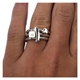 Silver Diamond Ring Set on Finger