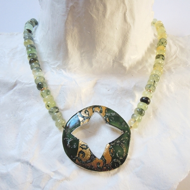 Necklace with Cut-out, Moss Agate