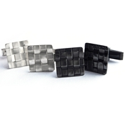 Silver & Oxidised Square Woven Cufflinks