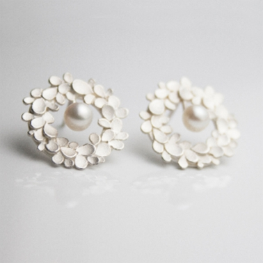 FLORAL WREATH large silver earrings with pearls