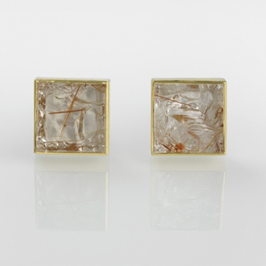 Silver and 24 carat Gold Cufflinks with Red Rutile Quartz