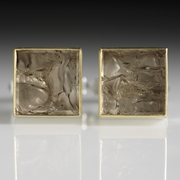 Silver and 24 carat Gold Cufflinks with Smokey Quartz