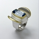 Silver and 24 carat Gold Ring with Blue Topaz