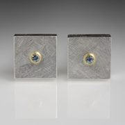 Silver and 24 carat Gold Cufflinks with Aquamarines
