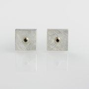 Silver and 24 carat Gold Square Cufflinks with Black Diamonds
