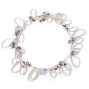 Cluster Bracelet with Garnet, Amethyst and Iolite
