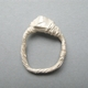 silver thread ring with cast stone