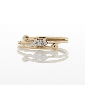 Fine Marquis Cut Diamond 9ct Gold Ring