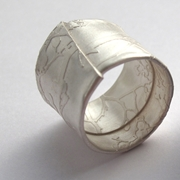 Wrapped silver blossom ring