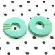 don't match studs-turquoise hoops with mismatch green stripes