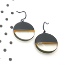 round charcoal resin drop earrings with orange stripe