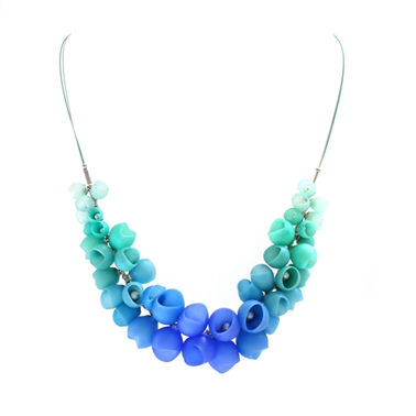 Blue cluster necklace