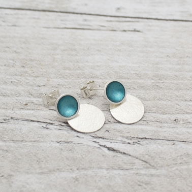 Teal Stud with Oval Drop