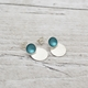 Small Teal Enamel Studs with Textured Drop