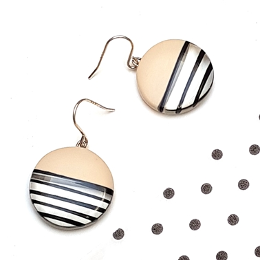 Mini round resin monochrome hook earrings