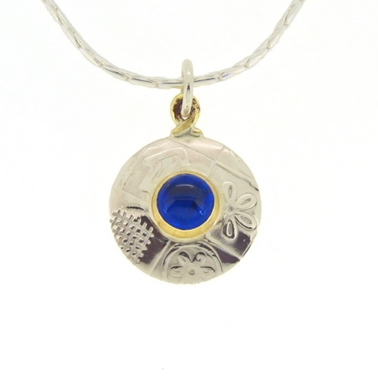 Round pendant, medium, blue spinel 1
