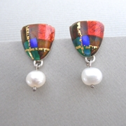 Tartan Inspired Drop Earrings with Freshwater Pearl
