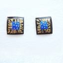 Small square earrings Black / blue