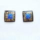 Small square earrings Black/ blue