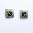 Small square earrings Grey/black