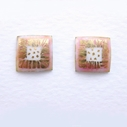 Small square earrings Pink/ white