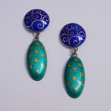 Oval Drop Earrings  Blue Green Scrolls