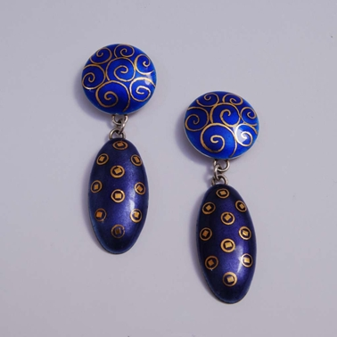 Oval Drop Earrings Blue, purple, scrolls