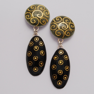 SMcD Oval Drop Earrings Grey Black