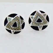 Round etched earring Black/Grey