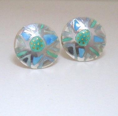 Round etched earring Pale blue/green/purple