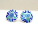 Round etched earring Dark blue/green/purple