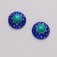 Small Round Earrings Blue Green