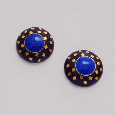SMcD Small Round Earrings Purple Blue