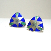 Triangular etched earring Blue / Purple