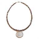 Smoky Quartz & Silver Stripe Necklace