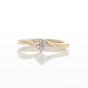 Solitaire Diamond Twist Gold Ring