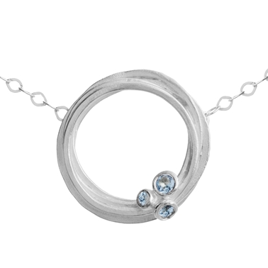 Silver and aquamarine swirl necklace