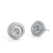 Silver and aquamarine swirl earrings