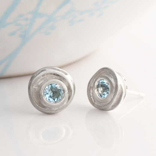 Silver and aquamaine swirl earrings