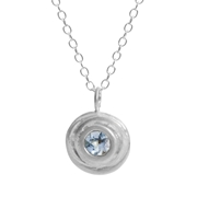 Silver and aquamaine small swirl necklace