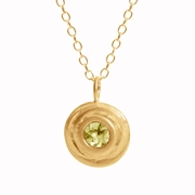 Gold and peridot small swirl necklace
