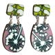 Nude Pink and lime - Ivy Box earrings