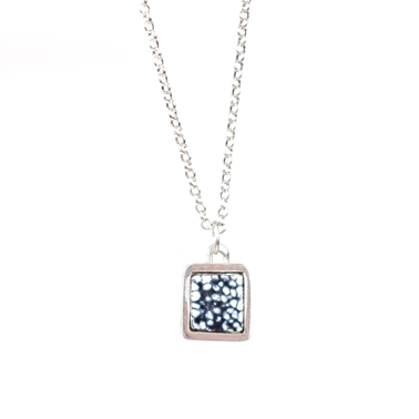 Blue Square Framed Pendant