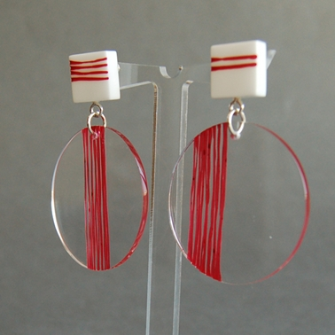 red square the circle earrings