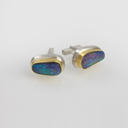 Sterling Silver and 24ct Gold Cufflinks with Bolder Opals