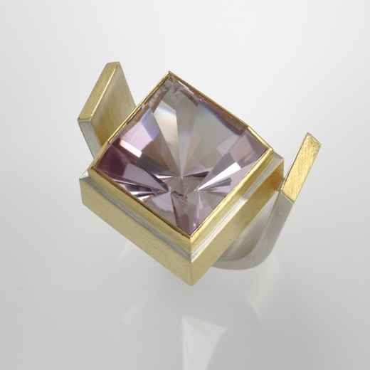 Sterling Silver and 24ct Gold Ring with Amethyst