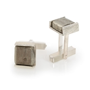 Sterling Silver Cufflinks with Pyrite Squares