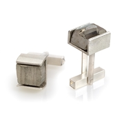 Sterling Silver Cufflinks with Pyrite Slate
