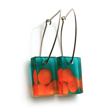 Teal Orange Rectangle Tiny Hydrangea earrings